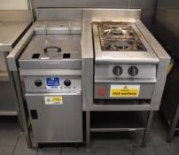 1 x Cookstation With Valentine Twin Tank Electric Fryer and Falcon Two Burner Gas Range - Ideal