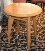 9 x Light Wooden Pub / Bistro Tables by Pedley Furniture - Small Compact Round Size - Ideal For