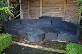 1 x Rattan Half Moon 10 Piece Garden Patio Seating Set by Oceans - Premium Four Line Rattan -