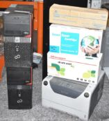 1 x Assorted Job Lot of Computer Equipment - Includes Two PC Base Units, Laser Printer and Selection