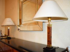 1 x Pair of Table Lamps With Burr Walnut Pedestals and Cream Shades- Features Inline On/Off