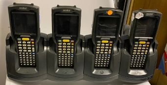 4 x Symbol MC3090 Mobile Barcode Scanner & Motorola Quad Slot Charger - Used Condition -