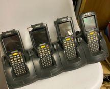 4 x Symbol MC3090 Mobile Handheld Computer & Quad Charging Cradle - Used Condition -
