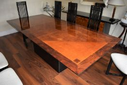 1 x Large Extending Dining Table With Eight Chairs - Features a Stunning Burr Walnut Centre With