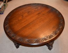 1 x Round Carved Oak Coffee Table By Jaycee - JacobeanStyle With Turned Legs, Joining Stretchers and