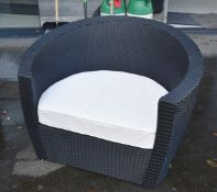 2 x Rattan Garden Armchair and Table Sets by Oceans - Includes Two Chairs, Two Side Tables and Cream
