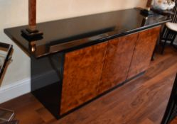 1 x Contemporary Three Door Sideboard With Dark Gloss Finish and Burr Walnut Doors - Dimensions