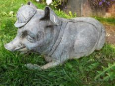 1 x Lazy Pig Metal Garden Statue - Dimensions: L 80cm x 30 x height 30cm - Ref: JB101 - Pre-Owned -
