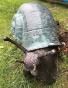 1 x Majestic Looking Giant 1.2 Metre Solid Bronze Snail Garden Sculpture - Dimensions: L:120cm - H: