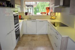 1 x Pronorm Einbauküchen German Made Fitted Kitchen With Contemporary High Gloss Cream Doors and