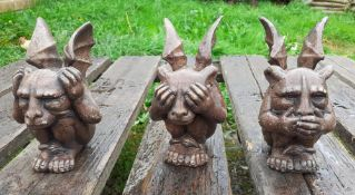 SetSet Of 3 x Small Gothic-Style Dragons 'See No, Hear No and Speak No' Evil! Of 3 x Small Gothic-S