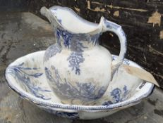 1 x Antique Victorian Patterned Blue And White Wash Bowl And Jug (Water Pitcher) - Marked DOULTON B