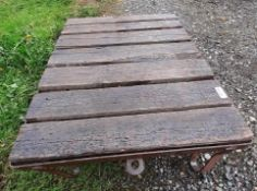1 x Small Rectangular Flatbed Stand With Timber Boarded Floor - Dimensions: 90 x 70 x height 30cm -