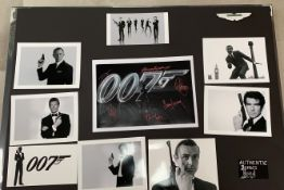 1 x Signed Autograph Picture - JAMES BOND 007 - Multi Cast James Bond Autographs By 6 James Bond