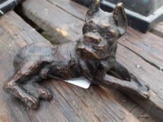 1 x Small Bronze Dog Ornament - Dimensions: width 14cm x height 8cm - Ref: JB207 - Pre-Owned - NO VA