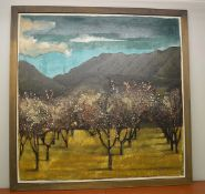 1 x Original Signed Framed Painting Of A Spanish Orchard By Lydia Bauman (1997)