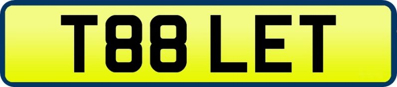 1 x Private Vehicle Registration Car Plate - T88 LET - CL590 - Location: Altrincham WA14More