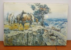 1 x 'Innocent Allies' Art Print Of Horses On Canvas - Dimensions: 53 x 36 x 1.5cm