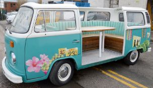 1 x Converted Vintage VW Camper Restaurant Seating Booth In Teal - Dimensions: H180 x W400 x D160cm