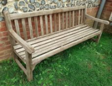 1 x Green Brothers 'Lister' Solid Teakwood Garden Bench - Dimensions: L183cm x 65cm x Height 85cm (a
