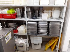 1 x Shelving Unit With Contents - Includes Gastro Pans, Gastro Pan Lids, Storage Containers, Wet