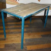 2 x High-Level Restaurant Bench Tables With Wood Panelled Tops and Metal Frames - Ref: RB144 - CL558