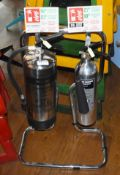 2 x Fire Extinguishers in Chrome With Stand - Foam & Carbon Dioxide - Ref: RB174 - CL558 - Location: