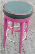 4 x Commercial Bar Stools Featuring Upholstered Seats And A Hot Pink Finish