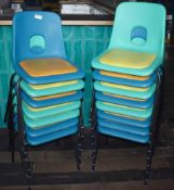 15 x Plastic Stackable Chairs With Cushioned Seat Pads - Suitable For Indoor or Outdoor Use - Ref:
