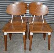 8 x Contemporary Commercial Dining Chairs With A Sturdy Wood And Metal Construction