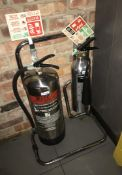 2 x Fire Extinguishers in Chrome With Stand - Foam & Carbon Dioxide- CL584 - Location: London W1F
