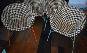3 x Tub Chairs With Blue Bases and Black / White Design Seats - Ref: RB128 - CL558 - Location: