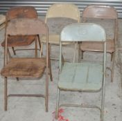 5 x Assorted Rustic Folding Metal Chairs - Dimensions (approx): H78 x W44 x D49cm, Seat 42cm
