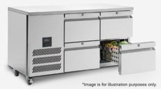 1 x WILLIAMS 'Jade' Stainless Steel Commercial Refrigerated Prep Counter With 4 Drawers -