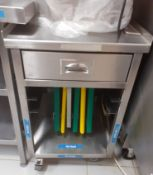 1 x Stainless Steel Mobile Prep Trolley With Shelf Rails and Single Drawer - CL582 - Location: