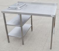 1 x Stainless Steel Commercial Prep Unit With 2 x Shelves And Serving Dish - Dimensions: H95 x W120