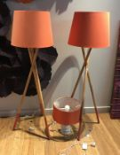 2 x Wooden Tripod Floor Lamps and White Ceramic Table Lamp - Each With Contemporary Orange