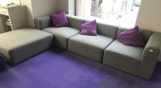 1 x Hay Mags Four Piece Modular Sofa in Grey - Three Seater Sofa With Chaise Lounge / Footrest