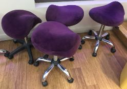 2 x Hydraulic Ergonomic Saddle Rolling Spa Massage Stools - Purple Velvet Upholstery and Chrome