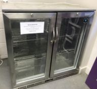 1 x LEC Stainless Steel Double Door Back Bar Bottle Cooler - H90 x W90 x D50 c - Ref BB1817 -