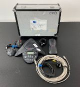 1 x Polycom Conference Phone System Including Extra Mics & Cables In Flight Case - Ref: 355 -