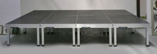 6 x Alustage 2m x 1m Stage Decks with 24 Adjustable Legs (600mm - 1m) on Transport Carrier - Ref: