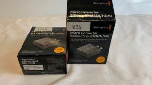 2 x Blackmagic design MicroConverter BiDirectional SDI/HDMI with PSU - Ref: 1124 - CL581 - Location: