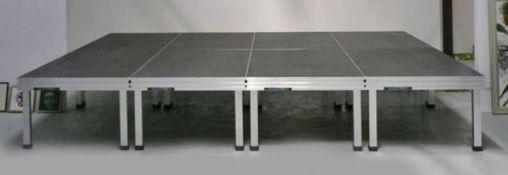6 x Alustage 2m x 1m Stage Decks with 12 x Adjustable Legs (600mm - 1m), 12 x 800mm Legs on