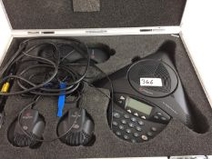 1 x Polycom Conference System With 2 Extra Microphones + Cables In Flight Case - Ref: 366 -