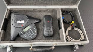1 x Polycom Conference Phone System Including Power Supply And CAT 5 Cable In Flight Case - Ref: 352