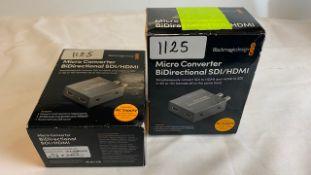 2 x Blackmagic design MicroConverter BiDirectional SDI/HDMI with PSU - Ref: 1125 - CL581 - Location: