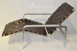 1 x Stunning Designer Chrome Lounge Chair In With Faux Leather Webbing *NO VAT On Hammer*