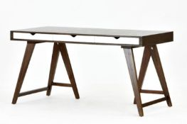 1 x Blue Suntree Ellwood Trestle Desk With a Dark Walnut Finish and Three White Storage Drawers -