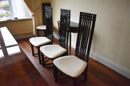 8 x High Back Dining Chairs - Set of Eight Elegant High Back Oriental Style Chairs With Black Finish